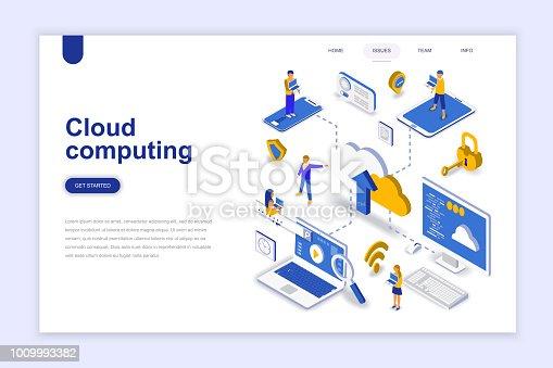 istock Cloud computing modern flat design isometric concept. 1009993382