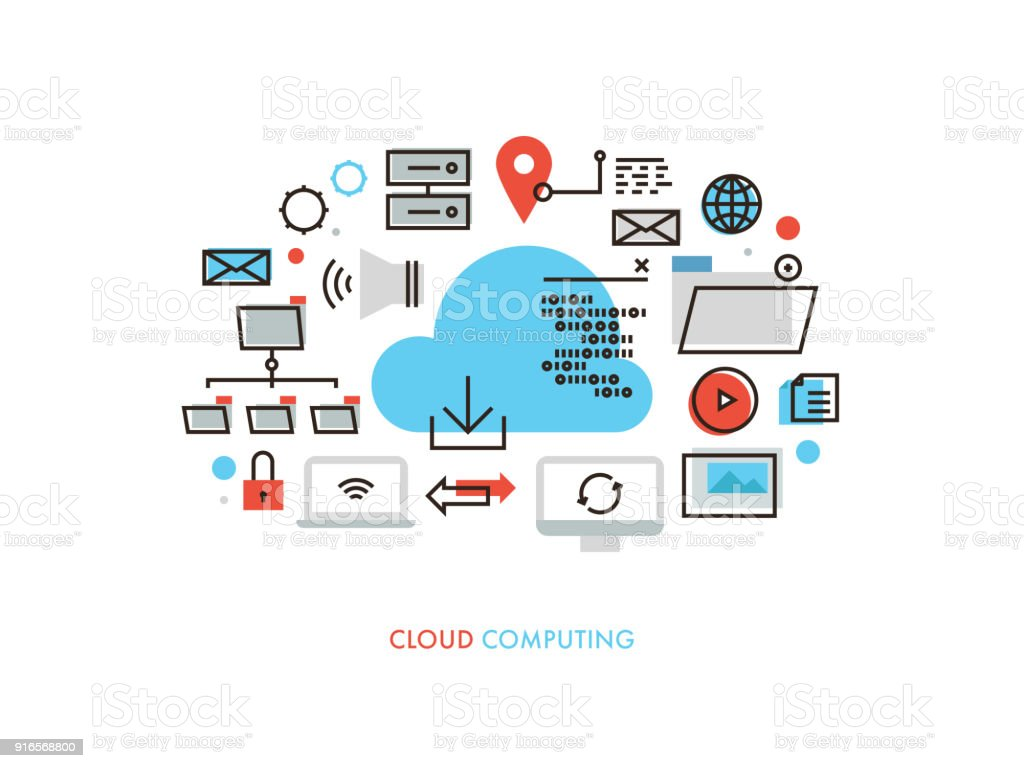 Cloud Computing Monoflat Illustration vector art illustration
