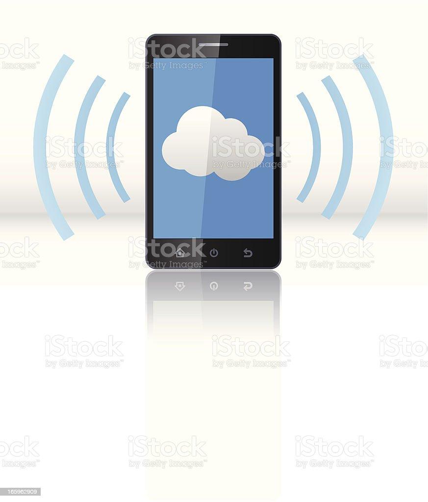 Cloud computing on Smartphone royalty-free stock vector art