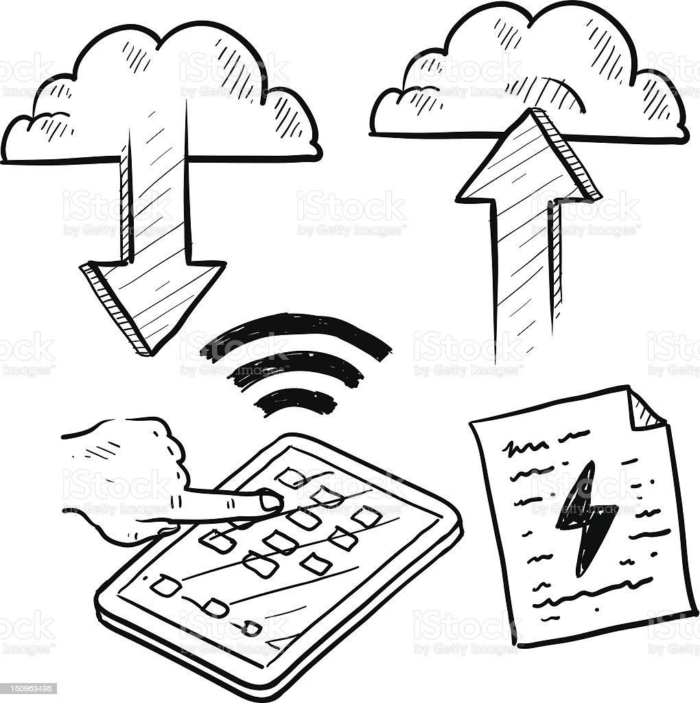 Cloud computing or mobile information scheme vector royalty-free stock vector art