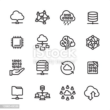 16 line black on white icons / Set #74 Pixel Perfect Principle - all the icons are designed in 48x48pх square, outline stroke 2px.  First row of outline icons contains:  Cloud Computing, Group of People, Data rain, Network Server;  Second row contains:  CPU, Organization Chart, Circuit Board, Global IT- infrastructure;  Third row contains:  Coding, Hard Drive, Exchanging, Software Engineering;   Fourth row contains:  File, Computing Cluster, Teamwork, Upload Cloud.  Complete Inlinico collection - https://www.istockphoto.com/collaboration/boards/2MS6Qck-_UuiVTh288h3fQ