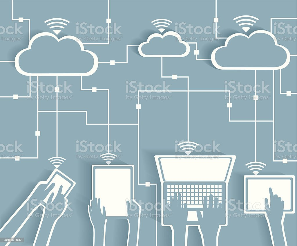 Cloud Computing Paper Cutout Stickers BYOD Devices Network vector art illustration