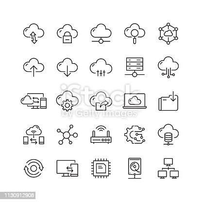 Cloud Computing Related Vector Line Icons
