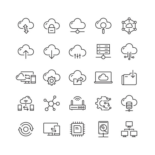 Cloud Computing Related Vector Line Icons Cloud Computing Related Vector Line Icons transfer image stock illustrations