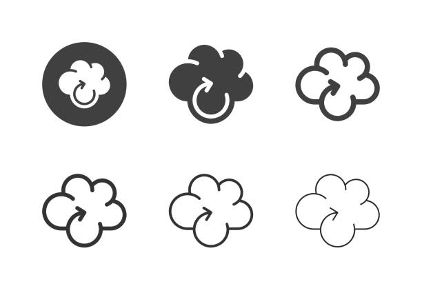 Cloud Computing Reloading Icons - Multi Series vector art illustration