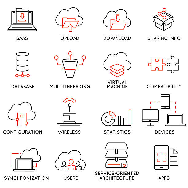 cloud computing service and data storage - part 2 - architecture icons stock illustrations