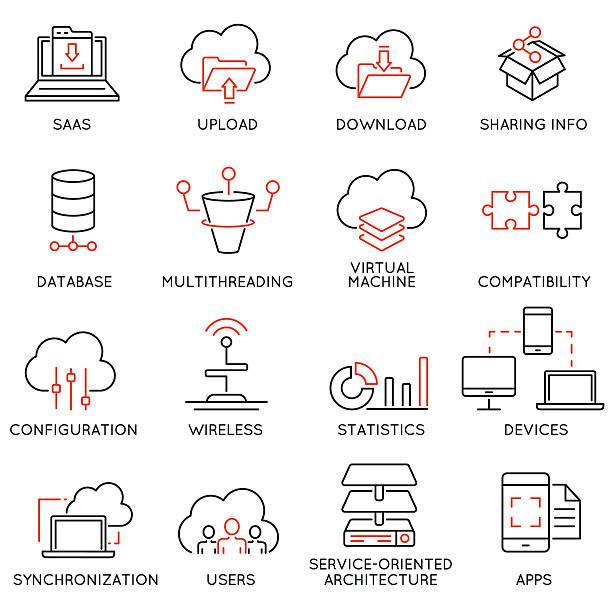 stockillustraties, clipart, cartoons en iconen met cloud computing service and data storage - part 2 - herhaling begrippen