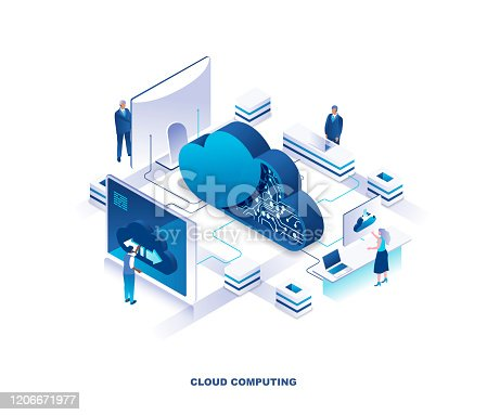 Cloud computing service isometric landing page. Concept of innovative technology for file storage, data center, database, storing digital information on internet. Vector illustration for website.