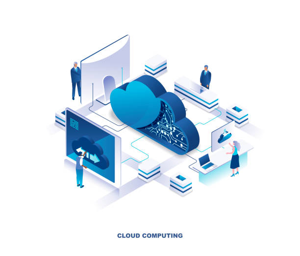 Cloud computing service isometric landing page. Concept of innovative technology for file storage, data center, database, storing digital information on internet. vector art illustration