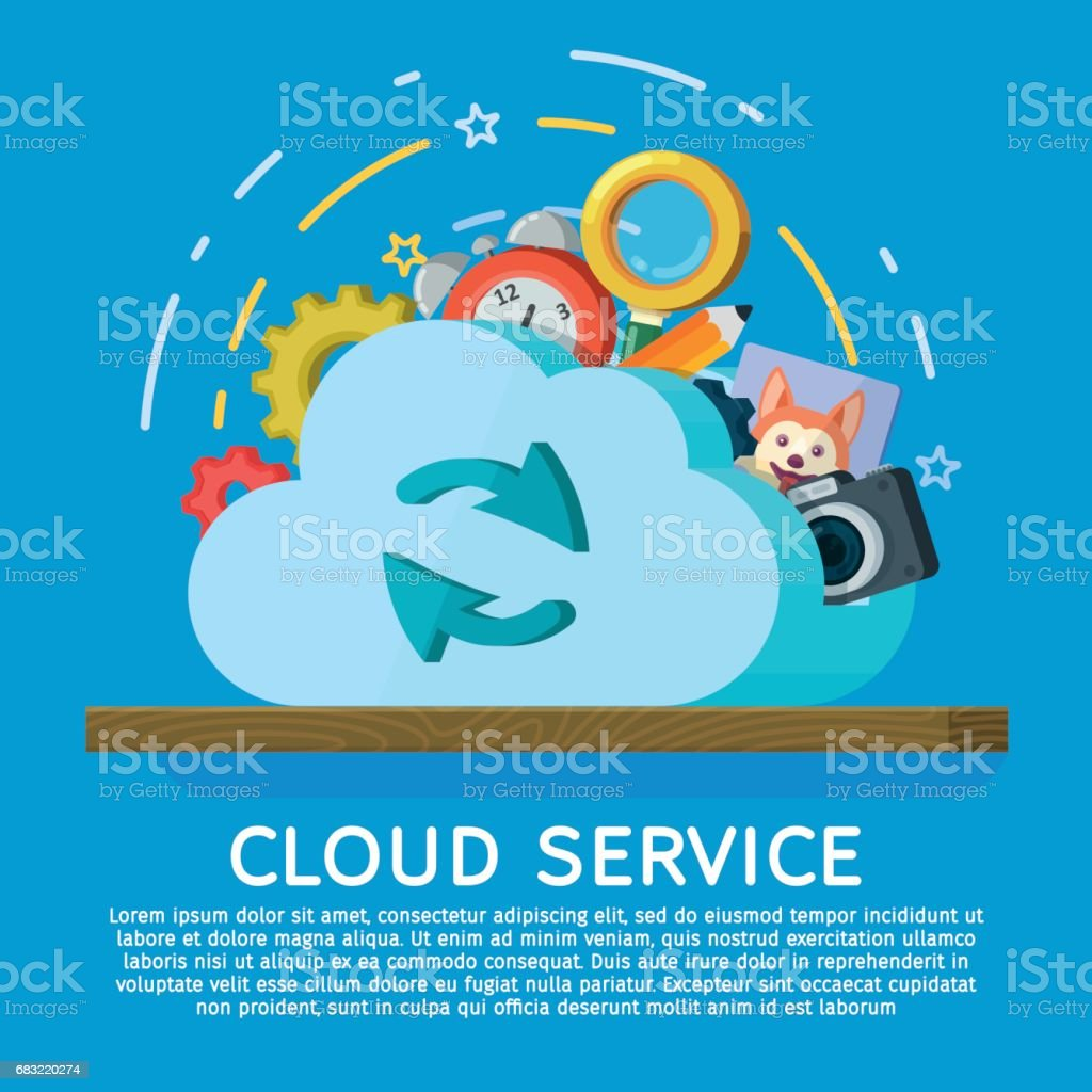 Cloud computing services banner in flat style. Networking communication and data icons. Data provision and cloud computing services. Data protection, online cloud storage, security, privacy. Abstract stock vector