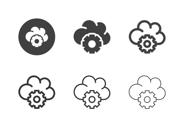 Cloud Computing Setting Icons - Multi Series vector art illustration