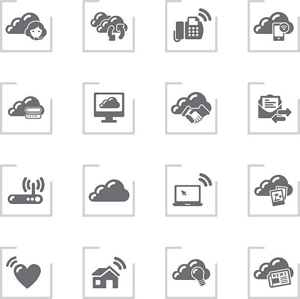 클라우드 컴퓨팅 & 공유 아이콘/프레임 그레이 - home icon stock illustrations