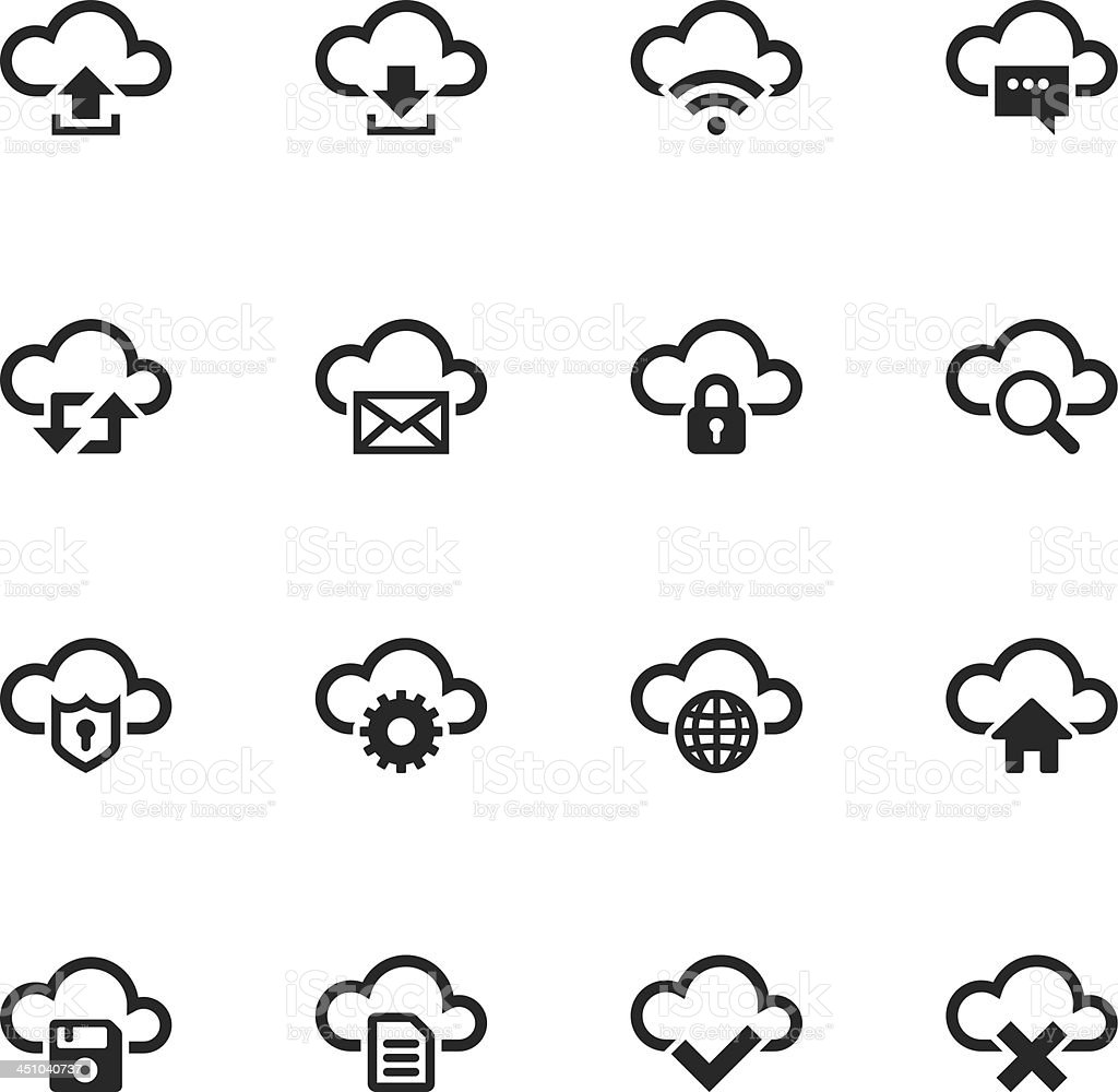 Cloud Computing Silhouette Icons royalty-free stock vector art