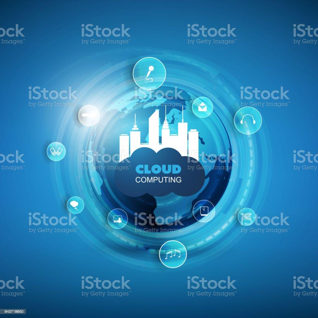 Cloud-Computing, Smart City, Internet der Dinge-Design-Konzept – Vektorgrafik