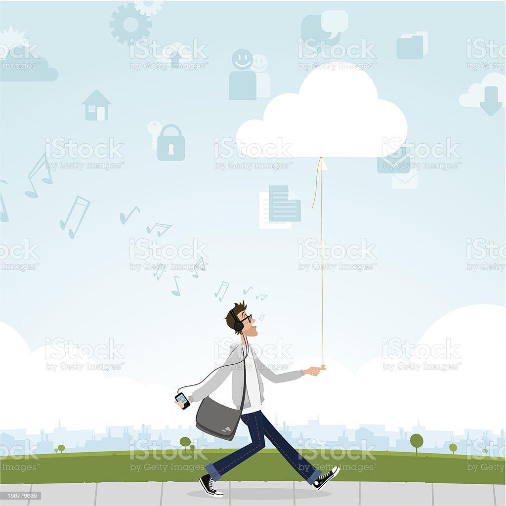 cloud computing smartphone music internet guy geek vector art illustration