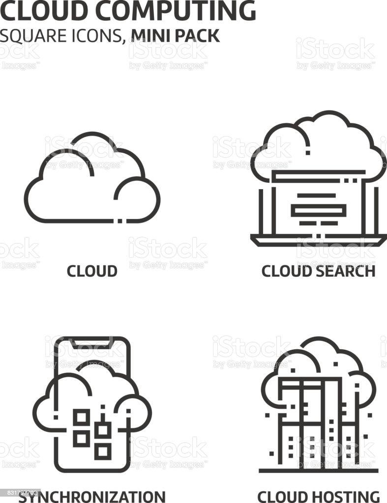 Cloud computing, square mini icon set vector art illustration