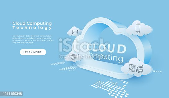 istock Cloud computing technology background. Digital online service. 3d cloud perspective vector illustration. 1211150348