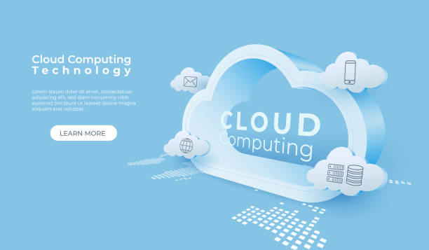 tło technologii przetwarzania w chmurze. cyfrowa usługa online. ilustracja wektorowa perspektywy chmury 3d. - chmura stock illustrations
