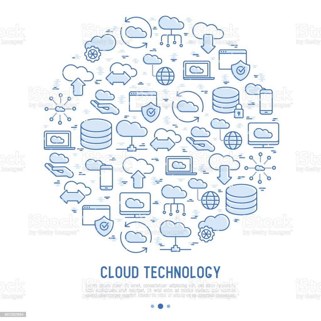 Cloud computing technology concept in circle with thin line icons related to hosting, server storage, cloud management, data security, mobile and desktop memory. Vector illustration. vector art illustration