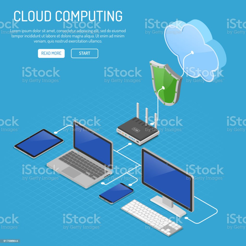 Cloud Computing Technology Isometric vector art illustration
