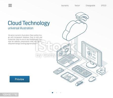Cloud computing technology modern isometric line illustration. Database, online server, internet platform business sketch drawn icons set. 3d vector background. Information storage network concept.