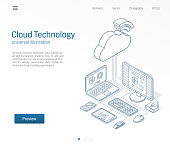 Cloud computing technology modern isometric line illustration. Database, online server, internet platform business sketch drawn icons set. 3d vector background. Information storage network concept.