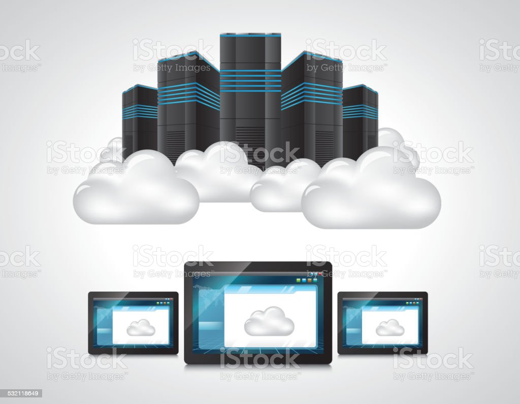 Cloud computing technology vector art illustration