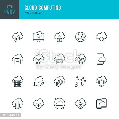 Cloud Computing - thin line vector icon set. 20 linear icon. Pixel perfect. Editable outline stroke. The set contains icons: Cloud Computing, Big Data, Data Analysis, Data Center, Internet of Things.