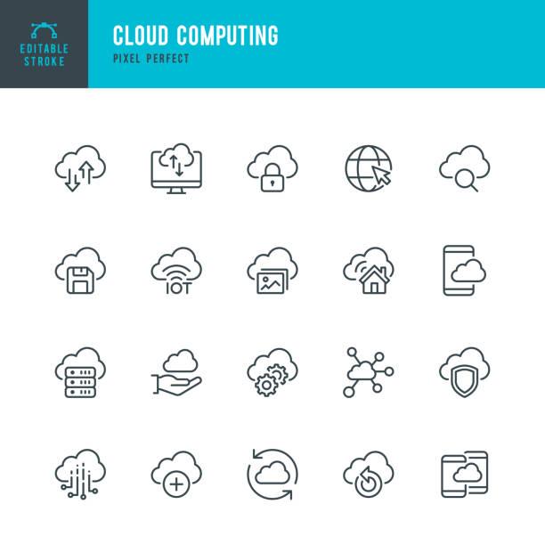 클라우드 컴퓨팅 - 가는 선 벡터 아이콘 세트입니다. 픽셀 완벽. 편집 가능한 스트로크입니다. 이 세트에는 클라우드 컴퓨팅, 데이터 분석, 데이터 센터, 사물 인터넷 아이콘이 포함되어 있습니� - 구름 stock illustrations