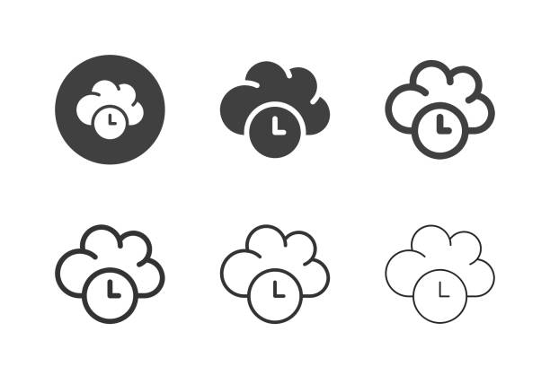 Cloud Computing Timing Icons - Multi Series vector art illustration