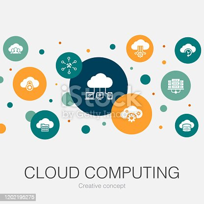 Cloud computing trendy circle template with simple icons. Contains such elements as  Cloud Backup, data center, SaaS,  Service provider