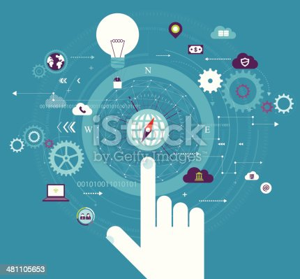 Vector illustration - Touch GlobalVector illustration - Cloud Computing