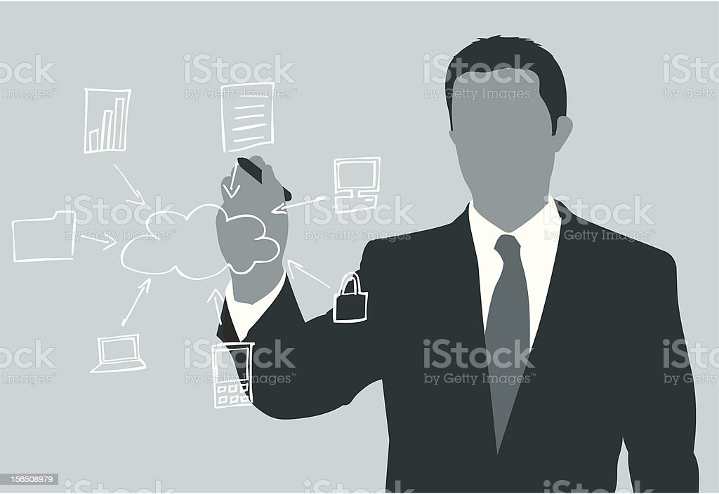 Cloud Computing - White Board Concept royalty-free stock vector art