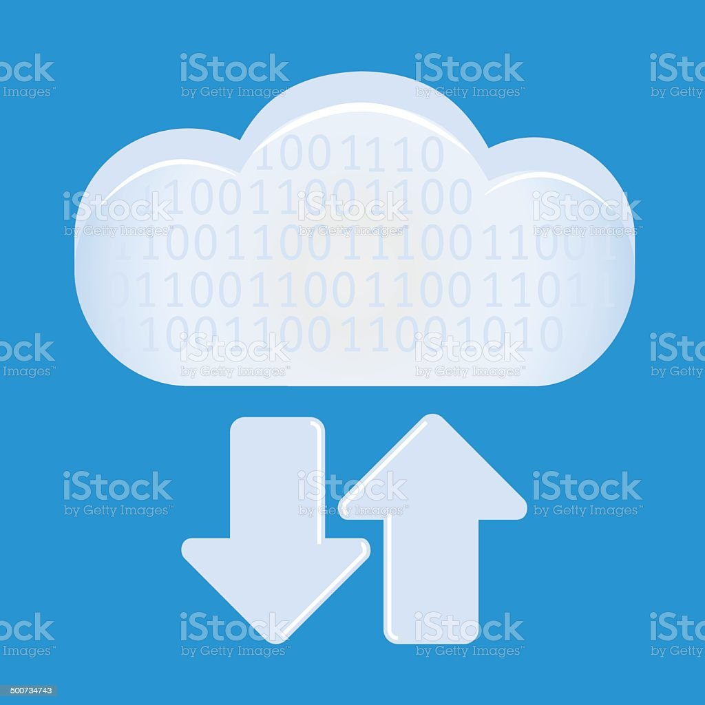 cloud computing with arrows vector art illustration