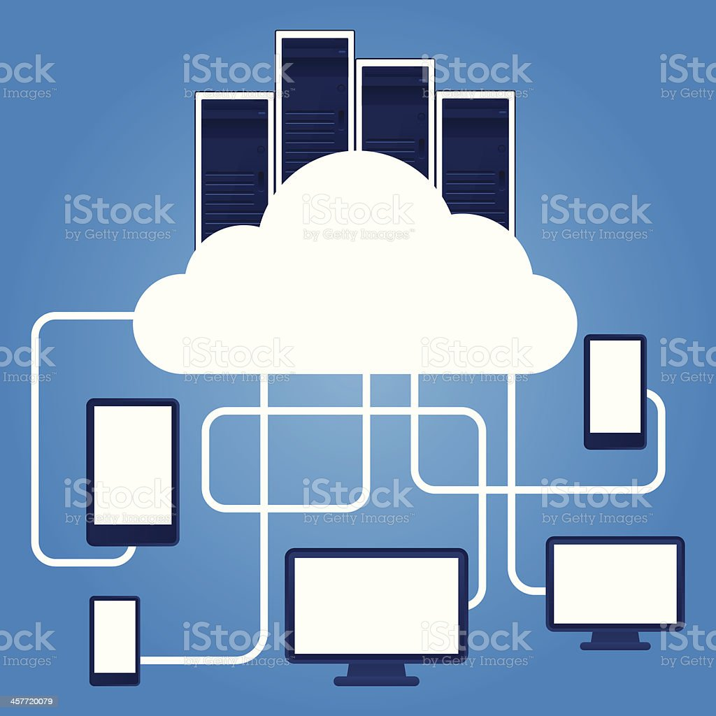 Cloud computing with connection maze royalty-free stock vector art
