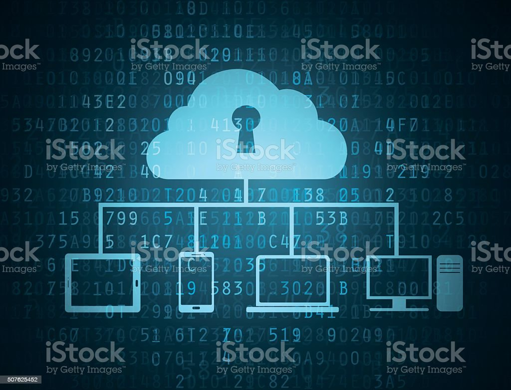 Cloud connected to devices vector art illustration