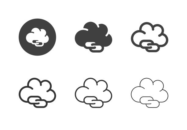 Cloud Connecting Icons - Multi Series vector art illustration