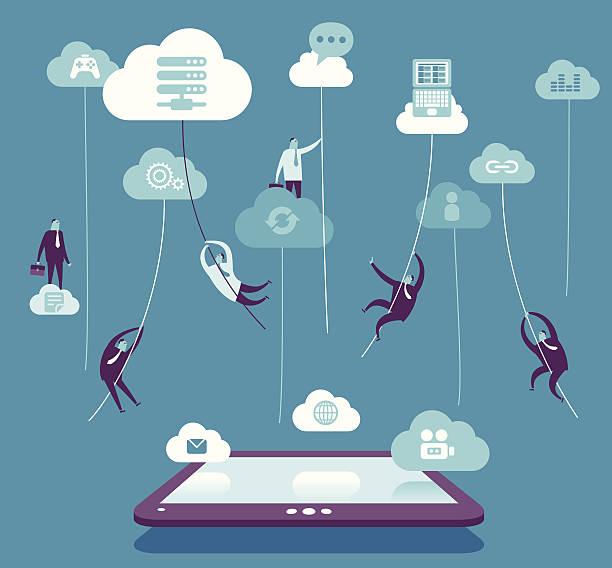 bildbanksillustrationer, clip art samt tecknat material och ikoner med cloud connection - chain studio