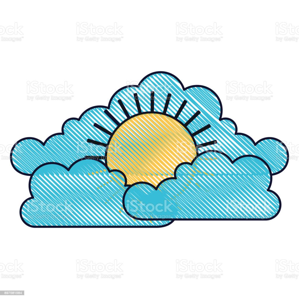 Cloud Cumulus And Sun Flat Icon In Colored Crayon Silhouette