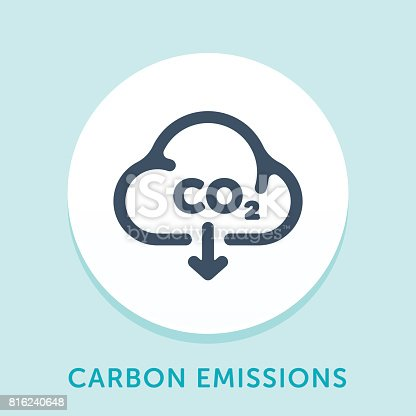 Curved Style Line Vector Icon for Carbon Emission.
