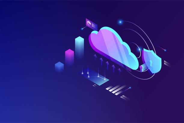 stockillustraties, clipart, cartoons en iconen met cloud data computing isometrische concept. cloud online data opslagtechnologie - laos indochina