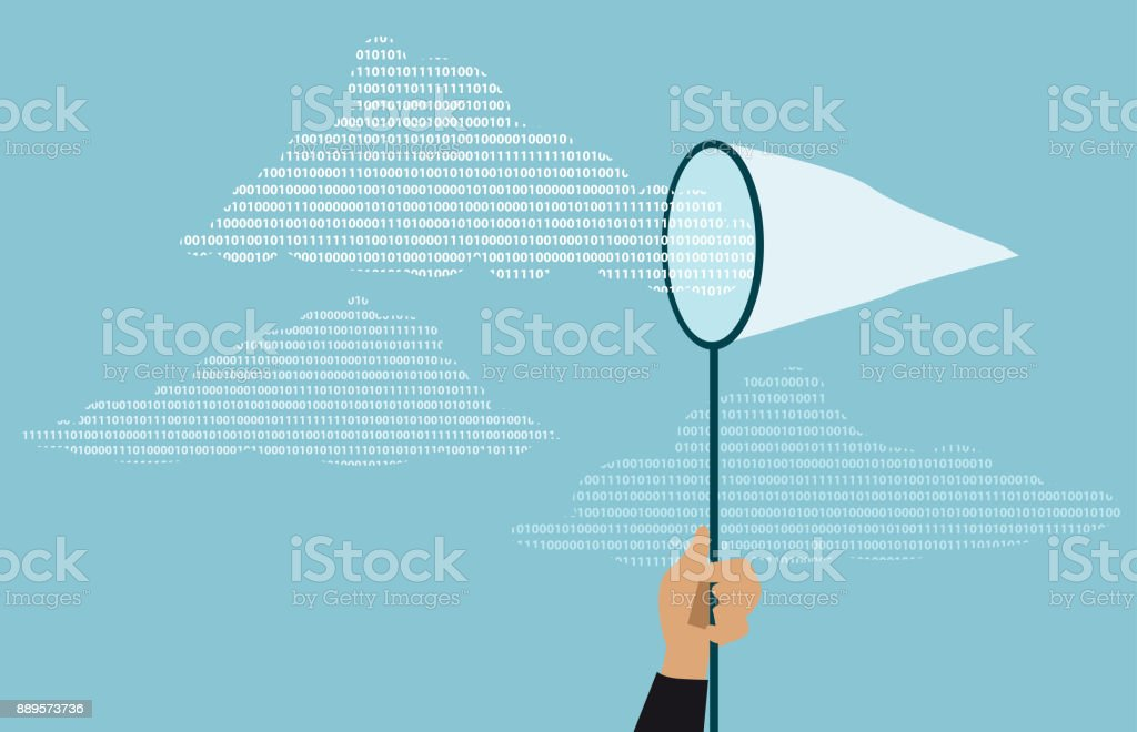 Cloud data security vector art illustration