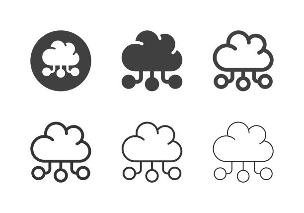 Cloud Data Service Icons - Multi Series vector art illustration