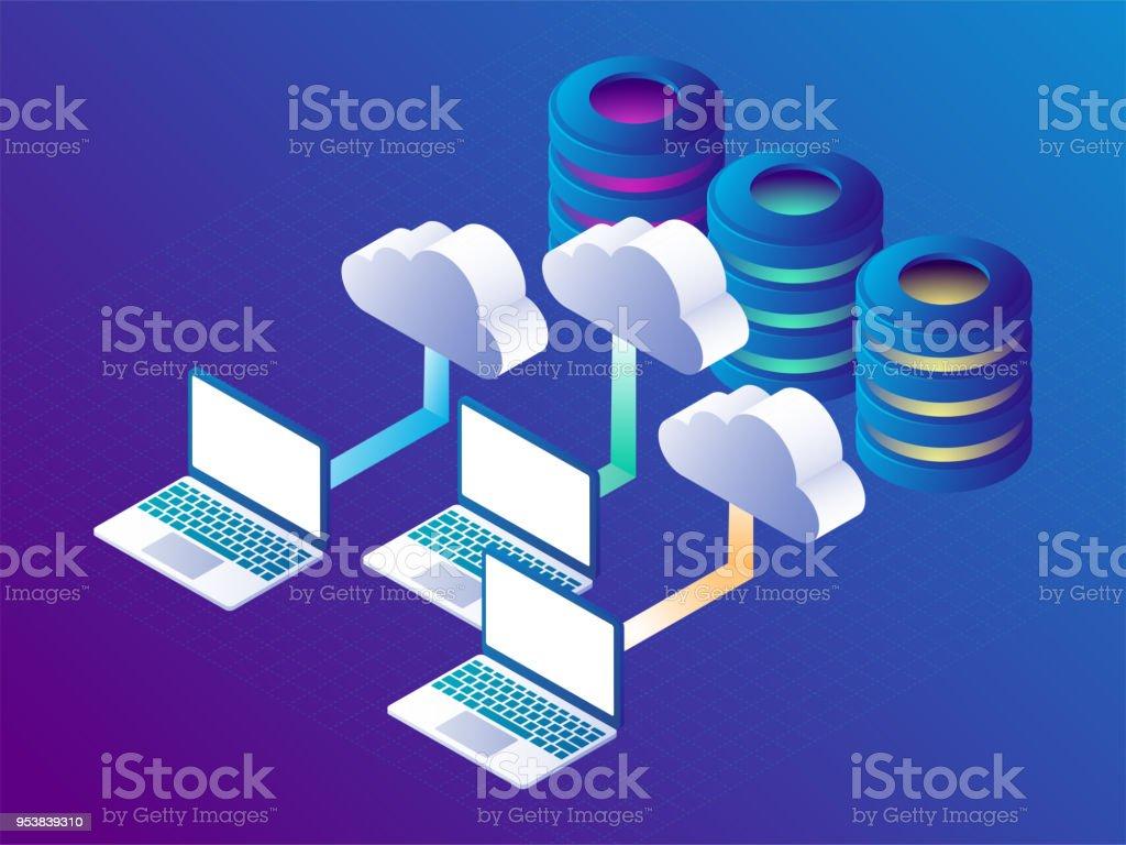 Clouddatenspeicher Und Cloudstoragekonzept Landung Seitenvorlage 3d ...