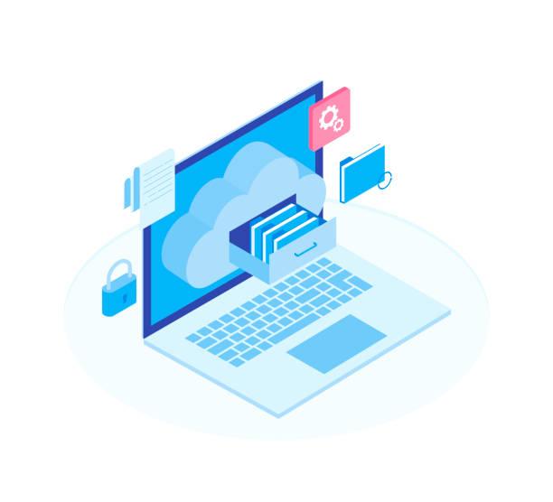 bildbanksillustrationer, clip art samt tecknat material och ikoner med cloud lagring platt 3d isometrisk teknik server affärsidé. laptop med dokument låda i molnet-formade skåp. moderna isometrisk vektorillustration - byrålåda