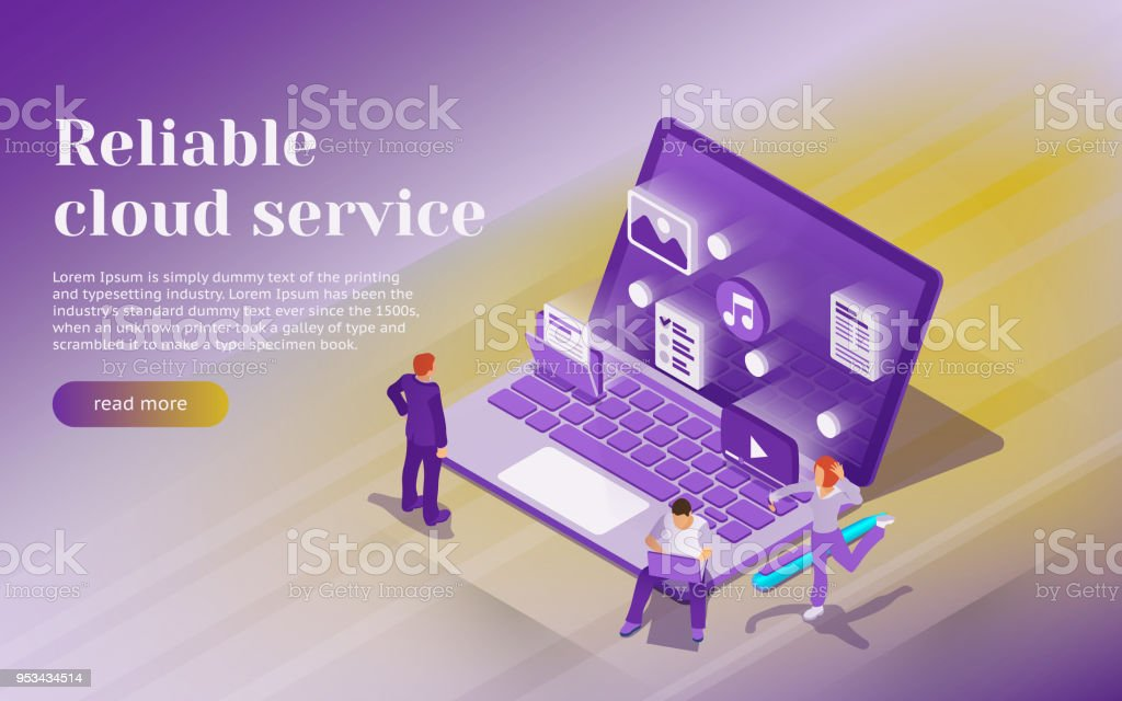 Cloud data storage, remote data access. Professional hosting and data storage. open laptop with multimedia files icons. vector art illustration