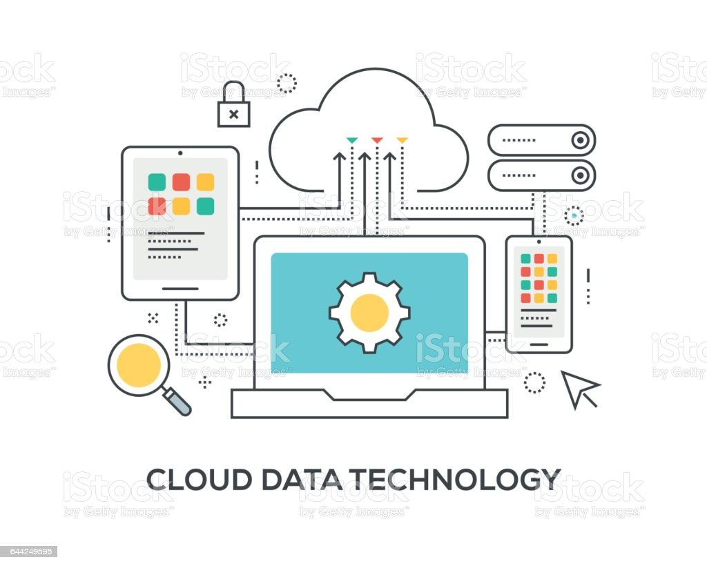 Cloud Data Technology Concept with icons vector art illustration