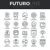 Modern thin line icons set of cloud data technology services, global connection. Premium quality outline symbol collection. Simple mono linear pictogram pack. Stroke vector symbol concept for web graphics.