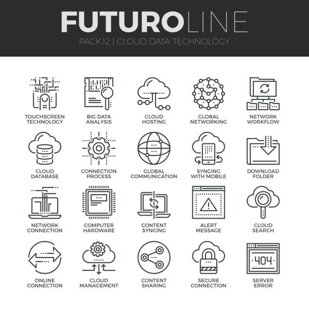 Cloud Data Technology Futuro Line Icons Set Modern thin line icons set of cloud data technology services, global connection. Premium quality outline symbol collection. Simple mono linear pictogram pack. Stroke vector symbol concept for web graphics. transfer image stock illustrations