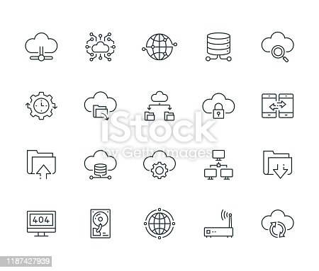 Cloud Data Technology Line Icon Set